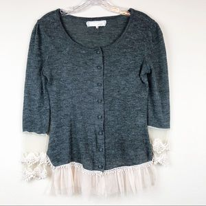 A'reve Gray Button Up Lace Cardigan